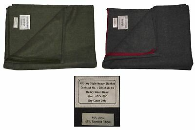 New Military Army Rescue Style Heavy Wool Warm Blanket Camping / Campfire • 19.49£