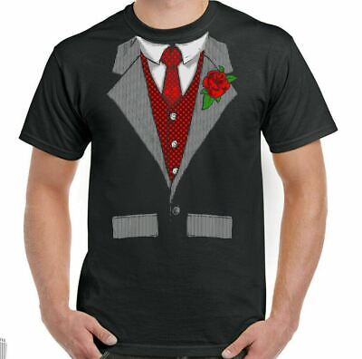 £9.94 • Buy Tuxedo T-Shirt Fancy Dress Outfit Costume Suit Stag Doo Mens Funny Shirt & Tie