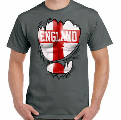 England T-Shirt Rugby St Georges Day Ripped Torn Flag Mens English Football Top • 7.94£