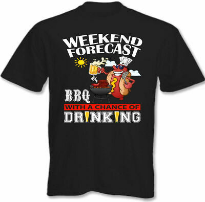 £9.94 • Buy BBQ T-Shirt Weekend Forecast BBQ'ing Drinking Mens Barbecue Party Chef Cooking