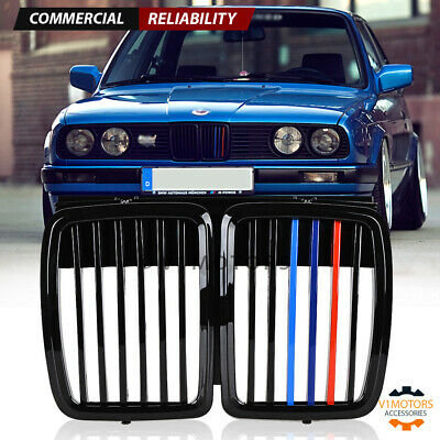 $28.98 • Buy For 1982-1994 BMW E30 325i 318is Front Hood Kidney Grill M3 Look Gloss Black