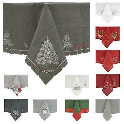 Christmas Tablecloths Napkins Fabric Luxury Embroidered Xmas Table Linen • 10£