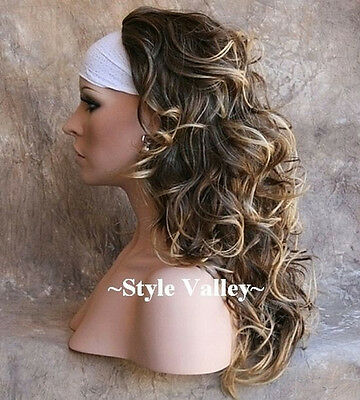 $48.95 • Buy GORGEOUS! Brown Blonde 3/4 Fall Half Wig Hairpiece Long Wavy Fall Hair Piece