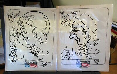 $14 • Buy 2 Vintage His & Hers Character Artist Drawings Opryland USA Nashville Tennessee
