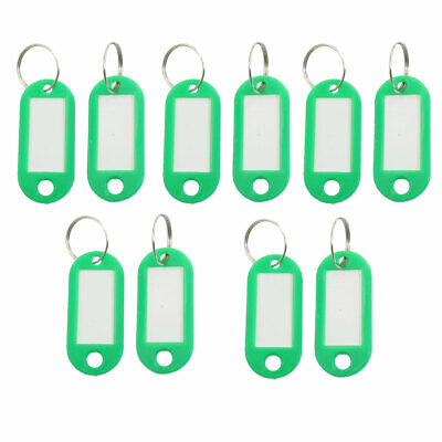 Bag Plastic Name Notes Tag ID Label Split Ring Keychain Key Holder Green 10 PCS • 2.57£