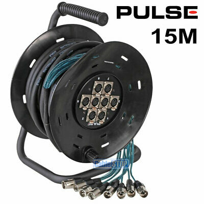 £76.95 • Buy PULSE 8 Way XLR Multicore Drum Stage Box, 15M Or 25M Snake Studio Theatre Cable