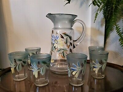 $35.99 • Buy Stunning Antique Pitcher And Tumblers Hand Painted Victorian Farmhouse Flowers
