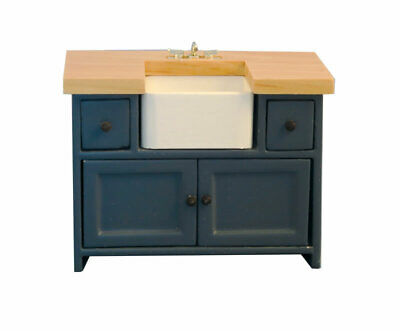 1/12 Scale Dolls House Emporium Shaker-style Kitchen Sink Unit Blue & Pine 9300 • 18.95£