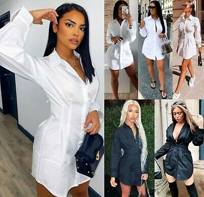 Women Ladies Long Sleeve Plain Collared Button Tailored Longline Shirt Dress Top • 14.90£