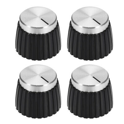 $ CDN11.83 • Buy 4pcs Potentiometer Amplifier Knob Black With Silver Tone Cap Volume Control Knob