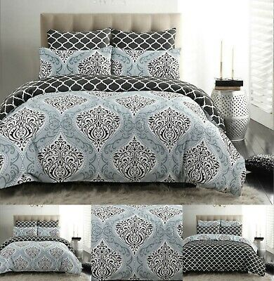 £16.99 • Buy Damask Bedding Duvet Cover Set 100% Cotton 200 Thread Count Double King Size