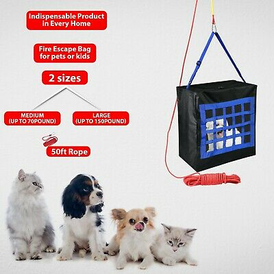 Fire Escape Device For Kids & Pets Up To 70 Lb+ 50ft Rope - Fire Safety Bag • 31.03£