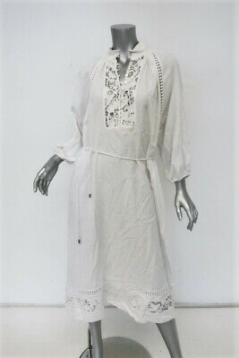 Zimmermann Dress Alchemy White Linen-Blend Size 2 Crochet Lace-Trimmed Midi • 238.40$