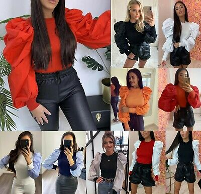 Women's Ladies Fine Ribbed Long Oversized Frill Puff Sleeve Jumper Sweater Tops • 12.99£