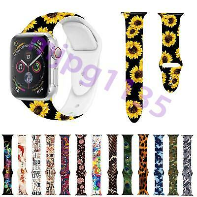 AU12.99 • Buy For Apple Watch Iwatch Series 5/4/3 Flower Printed Silicone Strap Bracelet Band