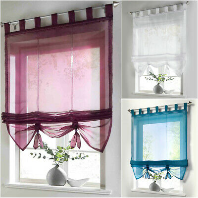 £13.99 • Buy Liftable Roman Blind Loops Voile Drapes Transparent Decorative Window Curtain