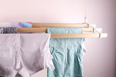 £79 • Buy Ceiling Hanging Clothes Dryer Vintage Pulley System 5 Pinewood Lath X 9 Colours