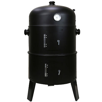 £44.99 • Buy 3 In 1 Black BBQ Charcoal Grill Barbecue Smoker Garden Outdoor Cooking Steel Pot