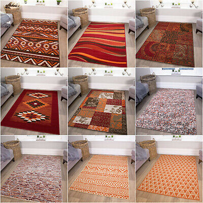 Terracotta & Red Rugs | Warm Large Living Room Rugs | Cheap Rugs For Bedroom UK • 19.95£