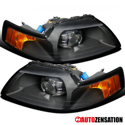 $133.99 • Buy For 1999-2004 Ford Mustang Retrofit Style Black Projector Headlights Left+Right