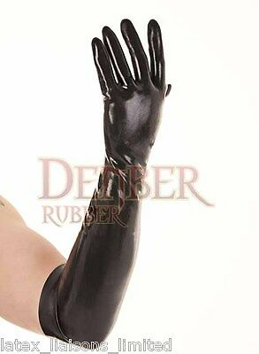 Black HEAVYWEIGHT Latex Rubber Elbow Gloves Extra Large 2nd Grade  BIN • 12.95£