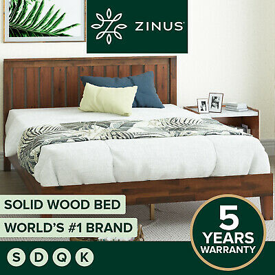 AU349 • Buy Bed Frame QUEEN DOUBLE KING SINGLE Solid Pine Wood Base - Zinus