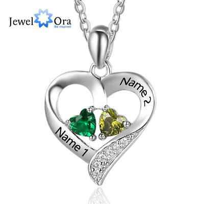 $14.99 • Buy Personalized 925 Name Birthstone Necklace Sterling Silver Pendant Engrave Custom