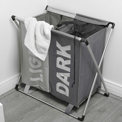 Large 2 Section Laundry Washing Clothes Bag Hamper Sorter Folding Organiser Rack • 12.99£