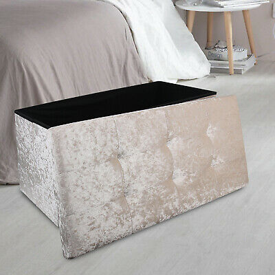 Velvet Ottoman Large 2 Seat Foldable Double Bed Storage Box Foot Stool Furniture • 22.99£