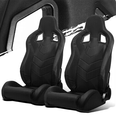 $308.50 • Buy Black PVC Leather Left/Right Reclinable Elite Style Racing Bucket Seats + Slider