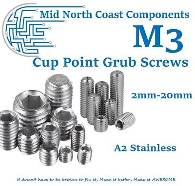 AU4.99 • Buy M3 Cup Point Grub Screw 2mm - 20mm Set Screw Hex Head A2 Stainless Steel 0.5