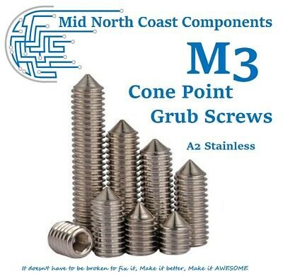 AU2.65 • Buy 2~10pc M3 Cone Point Grub Screw 3mm - 10mm Set Screw Hex Head 304 Stainless