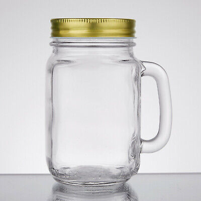 12 Acopa 16 Oz. Mason Jar / Drinking Jar With Handle And Gold Metal Lid • 28.94£