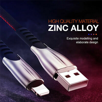Zinc Metal USB Fast Charge Charger  Lead  Cable For I Phone 1m 2m 3m • 1.99£
