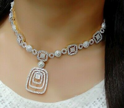 $33.24 • Buy Indian Bollywood Necklace Jewelry Set AD Silver Plated Designer Bridal Fashion