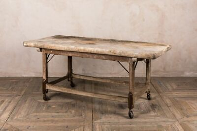 Vintage Butchers Block Table With Oak Base With Cast Iron Wheels • 1,285£