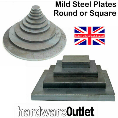 MILD STEEL SQUARE Or ROUND Disc Plate Sheet Metal Laser Cut Washer Blank • 3.30£