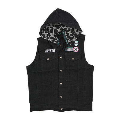 $24.75 • Buy Green Day Mens Black Hooded Denim Vest With Patches Msrp $129.99