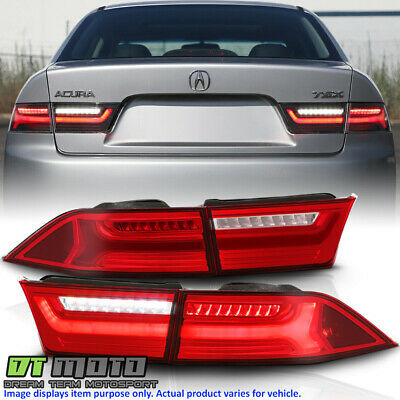 $249.99 • Buy 2004-2008 Acura TSX Red Clear LED Tube Tail Lights Brake Lamps 4pcs Left+Right