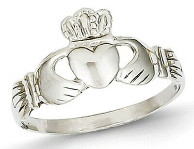 $179 • Buy Ladies 14K White Gold Polished Claddagh Ring