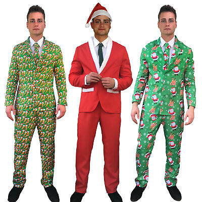 Mens Christmas Suit Carrot Sprout Santa Hat Funny Patterned Fancy Dress Costume • 15.99£