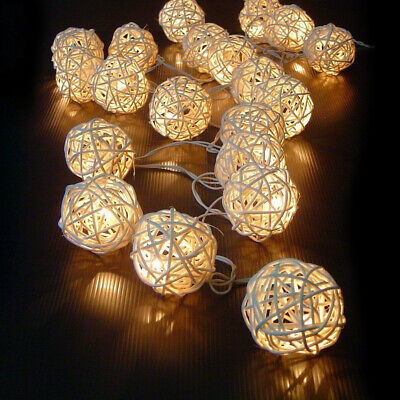Battery Operated Rattan Ball 20 LED String Fairy Lights Wedding Party Xmas Decor • 4.89£