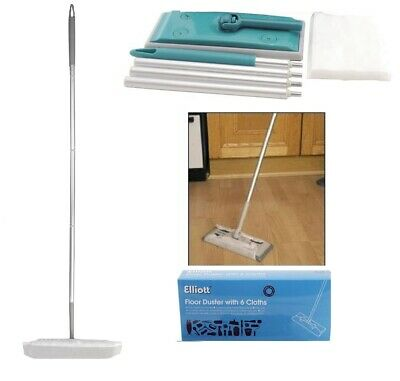 Laminate Floor Duster Static Micro Fiber Mop Broom With 6 Cloths OR 20 Refills • 8.95£