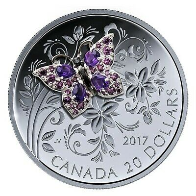 2 Bejeweled Bugs 2017 Canada $20: BUTTERFLY & BEE- 2 Pure Silver Proof Coins!  • 265.15$