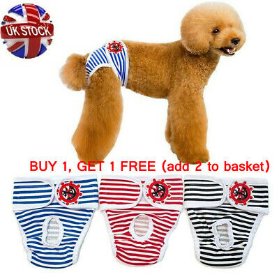 S-XL Striped Female Pet Dog Pant Bitch Season Menstrual Sanitary Nappy Diaper UK • 2.79£
