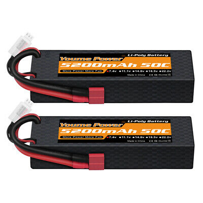 $ CDN42.17 • Buy 2pcs 7.4V 2S 5200mAh LiPo Battery 50C Deans Hardcase For RC Car Truck Buggy