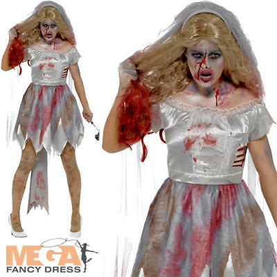 Zombie Bride Ladies Fancy Dress Halloween Horror Marrige Adults Costume Outfit • 25.99£