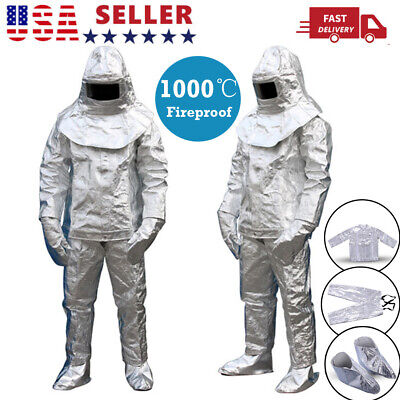 1000°C Thermal Radiation Heat Resistant Aluminized Suit Fireproof Full Body US • 135.99$