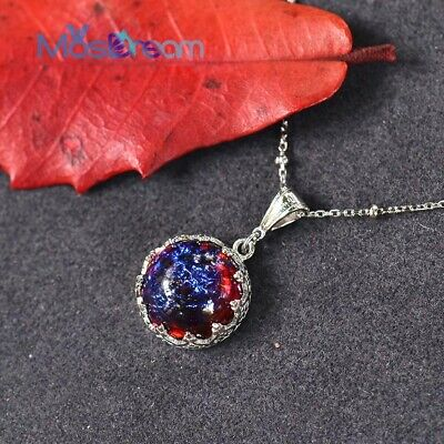 £24.99 • Buy Handmade 925 Sterling Silver Dragons Breath Mexican Fire Opal Style Necklace