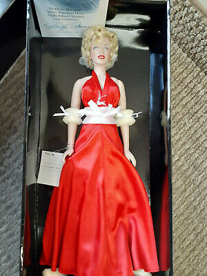 Franklin Mint Marilyn Vinyl Doll Christmas Red Satin 16  LE/1000 With COA • 150.56£